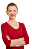 Gelukkige hogere vrouw met wapens royalty-vrije stock fotografie
