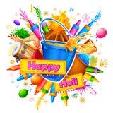 Gelukkige Holi-Achtergrond voor Festival van de groeten van de Kleurenviering Stock Afbeeldingen