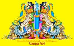 Gelukkige Holi-Achtergrond voor Festival van de groeten van de Kleurenviering Stock Afbeelding