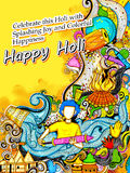 Gelukkige Holi-Achtergrond voor Festival van de groeten van de Kleurenviering Royalty-vrije Stock Foto's