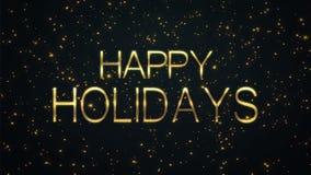Gelukkige Holodays-tekst met fonkelende deeltjes glanzende achtergrond stock video