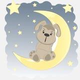 Gelukkige hond die op de maan zit Stock Illustratie