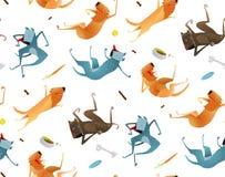 Gelukkige Honden en Voedsel Van een hond Naadloos Patroon Royalty-vrije Stock Foto's