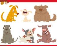 Gelukkige honden of puppybeeldverhaalkarakters Stock Afbeelding