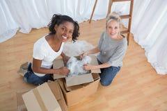 Gelukkige housemates die dozen in nieuw huis uitpakken Royalty-vrije Stock Afbeeldingen