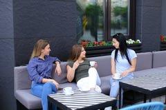 Gelukkige huisvrouwen die bij koffie en het drinken koffie spreken Royalty-vrije Stock Afbeelding