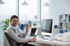 Gelukkige Indische ondernemer Royalty-vrije Stock Foto's