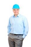 Gelukkige ingenieur met blauwe bouwvakker Stock Foto's