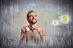 Gelukkige investeerdersmens stock foto