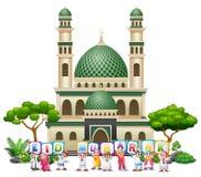 Gelukkige Islamitische jonge geitjes en kleurrijke tekst Eid Mubarak voor een moskee stock illustratie