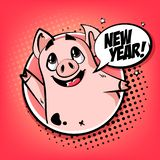 Gelukkige Jaarkaart met leuk varken in kader en tekstwolk Groetaffiche in strippaginastijl royalty-vrije illustratie