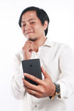 Gelukkige Jonge Aziatische Zakenman Taking Selfie Photo Stock Afbeelding
