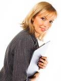 Gelukkige jonge bedrijfsvrouw. Geïsoleerd over wit stock fotografie