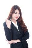 Gelukkige jonge bedrijfsvrouw, Gekruiste wapens Stock Foto's