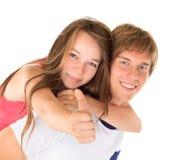 Gelukkige jonge broer en zuster stock foto