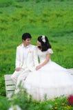 Gelukkige jonge bruid en bruidegom Stock Foto's