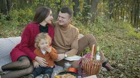 Gelukkige, jonge familie op picknick stock video