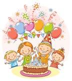 Gelukkige Jonge geitjes bij de Verjaardagspartij stock illustratie