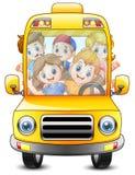 Gelukkige jonge geitjes die met een bus berijden vector illustratie