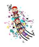 Gelukkige Jonge geitjes en Muziek Stock Afbeeldingen