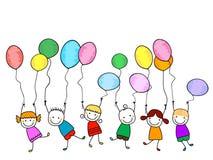 Gelukkige jonge geitjes met ballons royalty-vrije illustratie