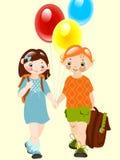Gelukkige jonge geitjes met ballons. school vrienden. Stock Foto