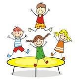 Gelukkige jonge geitjes op een trampoline, vectorillustratie Royalty-vrije Stock Foto