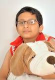 Gelukkige Jonge Jongen met zijn Zacht Stuk speelgoed Stock Foto's