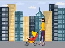 Gelukkige jonge mammagang met wandelwagen met baby stock illustratie