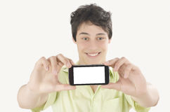 Gelukkige jonge mens die een selfiefoto met zijn slimme telefoon nemen Mens Stock Afbeeldingen