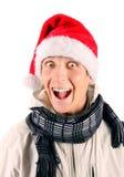 Gelukkige Jonge Mens in Santa Hat Stock Fotografie