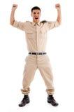 Gelukkige jonge militair stock foto's