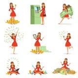 Gelukkige jonge miljonairvrouw in een rode kleding die van haar geld en rijkdom, reeks genieten van kleurrijke gedetailleerde vec royalty-vrije illustratie