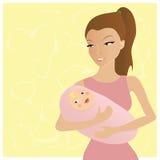 Gelukkige jonge moeder Stock Illustratie