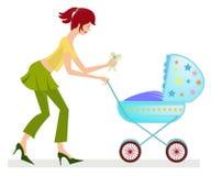 Gelukkige jonge moeder met kinderwagen Stock Afbeelding