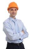 Gelukkige jonge voorman met bouwvakker Stock Afbeeldingen