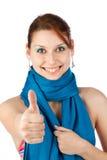 Gelukkige jonge vrouw in blauwe sjaal Stock Foto