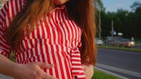 Gelukkige jonge vrouw die bij de camera glimlachen Zwanger meisje die haar grote buik in de zomer strijken Sluit omhoog geschoten stock videobeelden