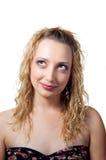 Gelukkige jonge vrouw die omhoog kijkt Royalty-vrije Stock Foto