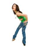 Gelukkige jonge vrouw die op wit wordt geïsoleerdc Stock Fotografie