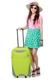 Gelukkige jonge vrouw klaar om op vakantie te gaan Stock Foto's
