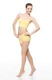 Gelukkige jonge vrouw met perfect slank lichaam Royalty-vrije Stock Foto's