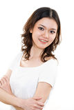 Gelukkige Jonge vrouw met steunen royalty-vrije stock foto