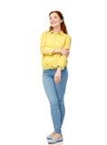 Gelukkige jonge vrouw over wit Stock Afbeelding