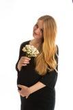 Gelukkige jonge zwangere blonde vrouw Stock Afbeelding