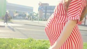Gelukkige jonge zwangere vrouw die bij de camera glimlachen en op de stad lopen Een vrouw die op een kind wachten Het concept van stock footage