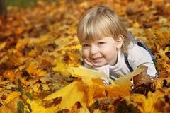 Gelukkige jongen in bladeren van de herfst royalty-vrije stock afbeeldingen