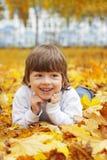 Gelukkige jongen in bladeren van de herfst stock fotografie