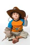 Gelukkige jongen in cowboyhoed Stock Afbeelding