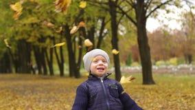 Gelukkige jongen die gele bladeren in de herfstpark werpen stock footage